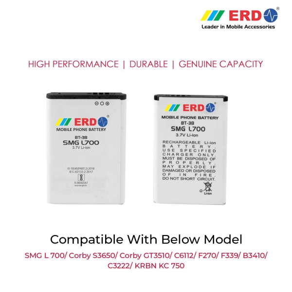 ERD BT-38 LI-ION Mobile Battery Compatible for Samsung L700 3