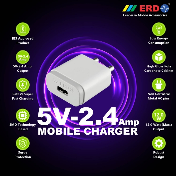 ERD TC-24 12W Mobile Phone Wall Charger | BIS Certified 2.4 Amp Charger Adapter with 1 Meter Long Type C Data Cable (White) 2