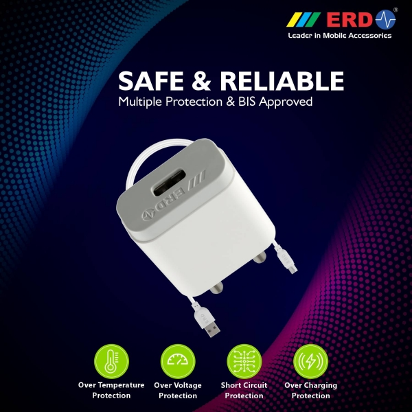 ERD TC-24 12W Mobile Phone Wall Charger | BIS Certified 2.4 Amp Charger Adapter with 1 Meter Long Type C Data Cable (White) 3