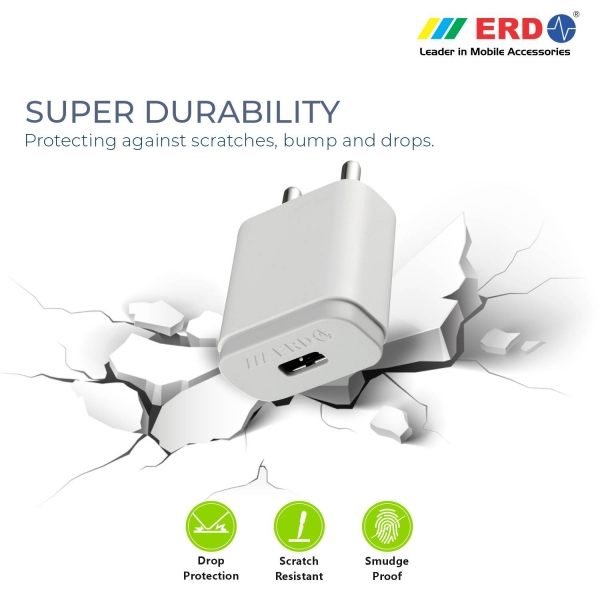 ERD TC-24 12W Mobile Phone Wall Charger | BIS Certified 2.4 Amp Charger Adapter with 1 Meter Long Type C Data Cable (White) 4