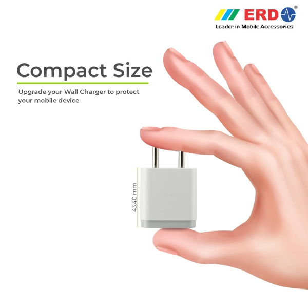 ERD TC-24 12W Mobile Phone Wall Charger | BIS Certified 2.4 Amp Charger Adapter with 1 Meter Long Type C Data Cable (White) 8