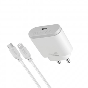 ERD TC-49 18W Mobile Phone Wall Charger | BIS Certified 3 Amp Charger Adapter with 1 Meter Long Lightning Cable | Compatible with Apple iOS, White