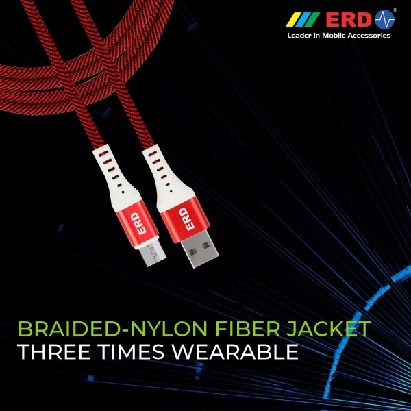 ERD UC-25 Metal Casing Braided Micro USB Cable   2.4 Amp Fast Charging Unbreakable 1 Meter Data Cable   Compatible with All Micro-USB Supported Devices like Mobile Phones, Digital Cameras (Red) 7