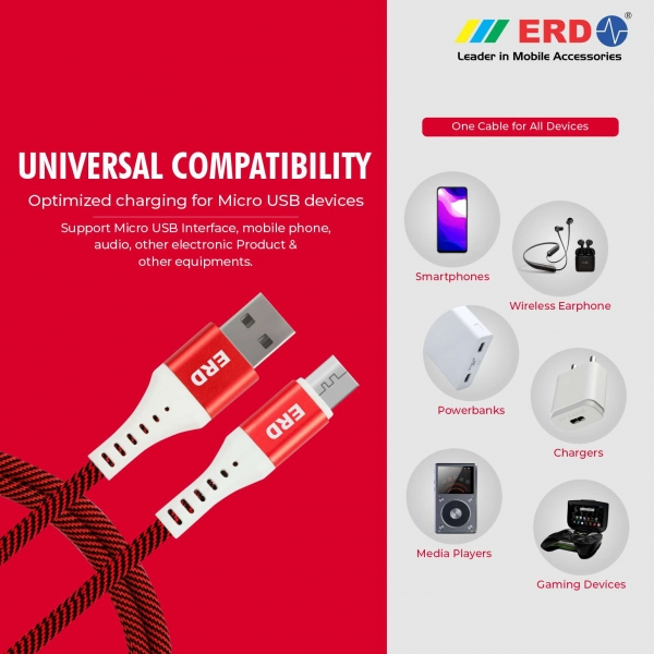 ERD UC-25 Metal Casing Braided Micro USB Cable   2.4 Amp Fast Charging Unbreakable 1 Meter Data Cable   Compatible with All Micro-USB Supported Devices like Mobile Phones, Digital Cameras (Red) 5