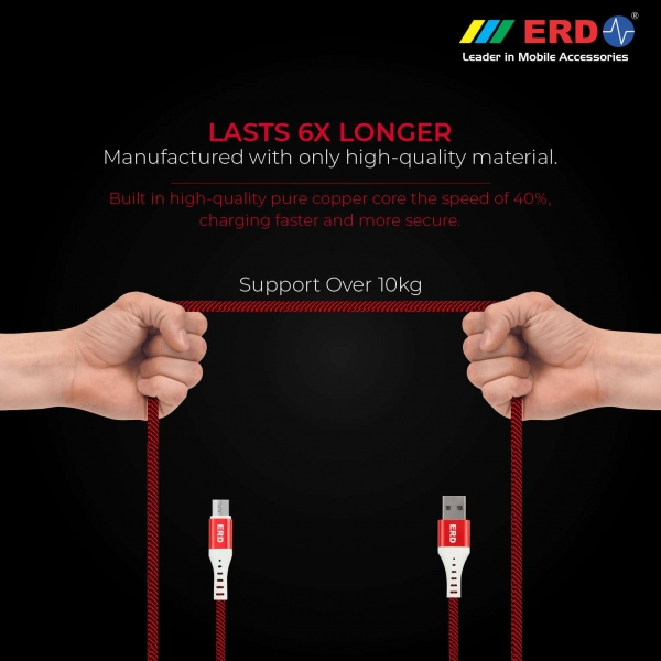 ERD UC-25 Metal Casing Braided Micro USB Cable   2.4 Amp Fast Charging Unbreakable 1 Meter Data Cable   Compatible with All Micro-USB Supported Devices like Mobile Phones, Digital Cameras (Red) 3